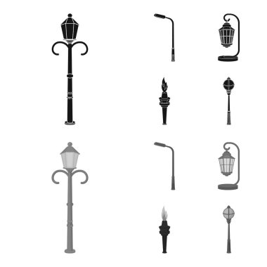 Lamppost in retro style,modern lantern, torch and other types of streetlights. Lamppost set collection icons in black,monochrome style vector symbol stock illustration web.
