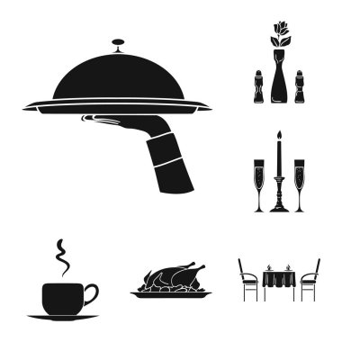 Restaurant and bar black icons in set collection for design. Pleasure, food and alcohol vector symbol stock web illustration.