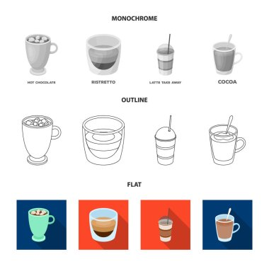 Ristretto, hot chocolate, latte take-away.Different types of coffee set collection icons in flat,outline,monochrome style vector symbol stock illustration web.