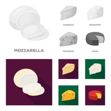 Parmesan, roquefort, maasdam, gauda.Different types of cheese set collection icons in monochrome,flat style vector symbol stock illustration web.