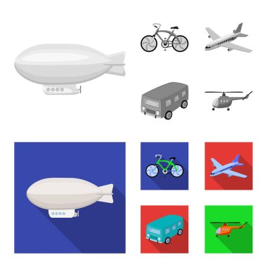 Bicycle, airplane, bus, helicopter types of transport. Transport set collection icons in monochrome,flat style vector symbol stock illustration web.