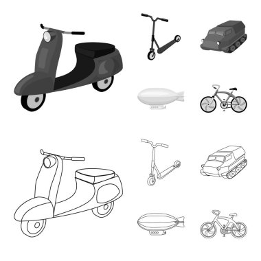 Motorcycle, scooter, armored personnel carrier, aerostat types of transport. Transport set collection icons in outline,monochrome style vector symbol stock illustration web.