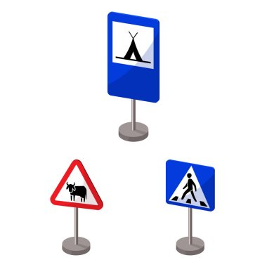 Different types of road signs cartoon icons in set collection for design. Warning and prohibition signs vector symbol stock web illustration.
