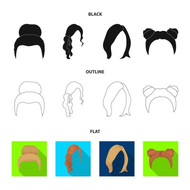 Blond with a bunch, red wavy and other types of hair. Back hair set collection icons in black,flat,outline style vector symbol stock illustration web.