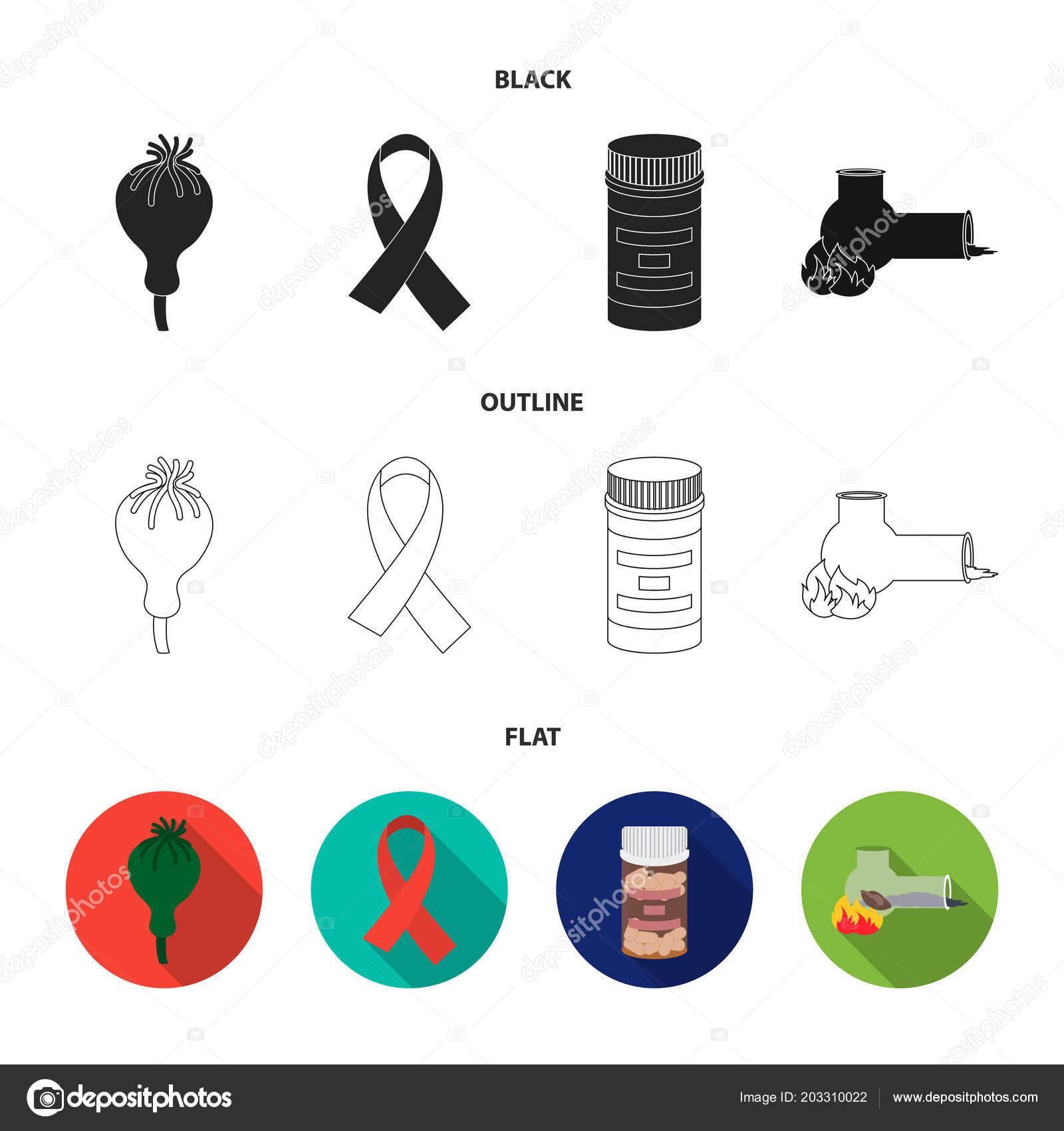 AIDS tape, tablets, opium poppy, a tube for hashish Drug set