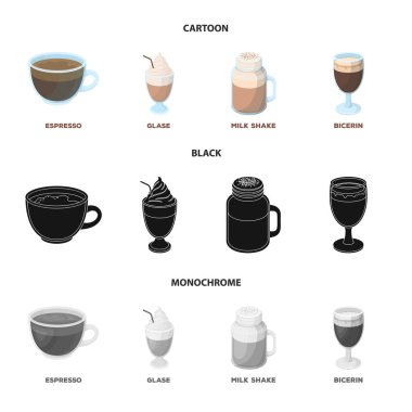 Esprecco, glase, milk shake, bicerin.Different types of coffee set collection icons in cartoon,black,monochrome style vector symbol stock illustration web.