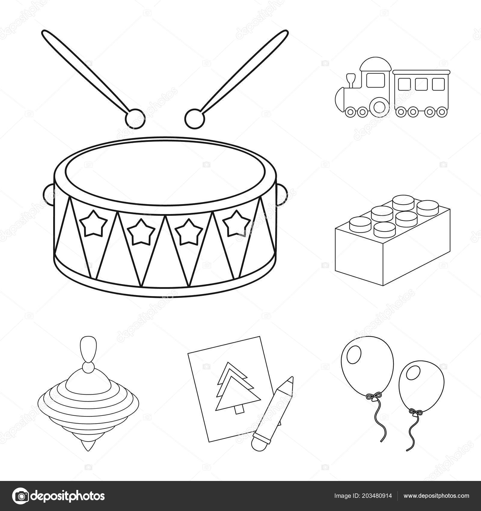 Children Toy Outline Icons In Set Collection For Design Game And - Game outline