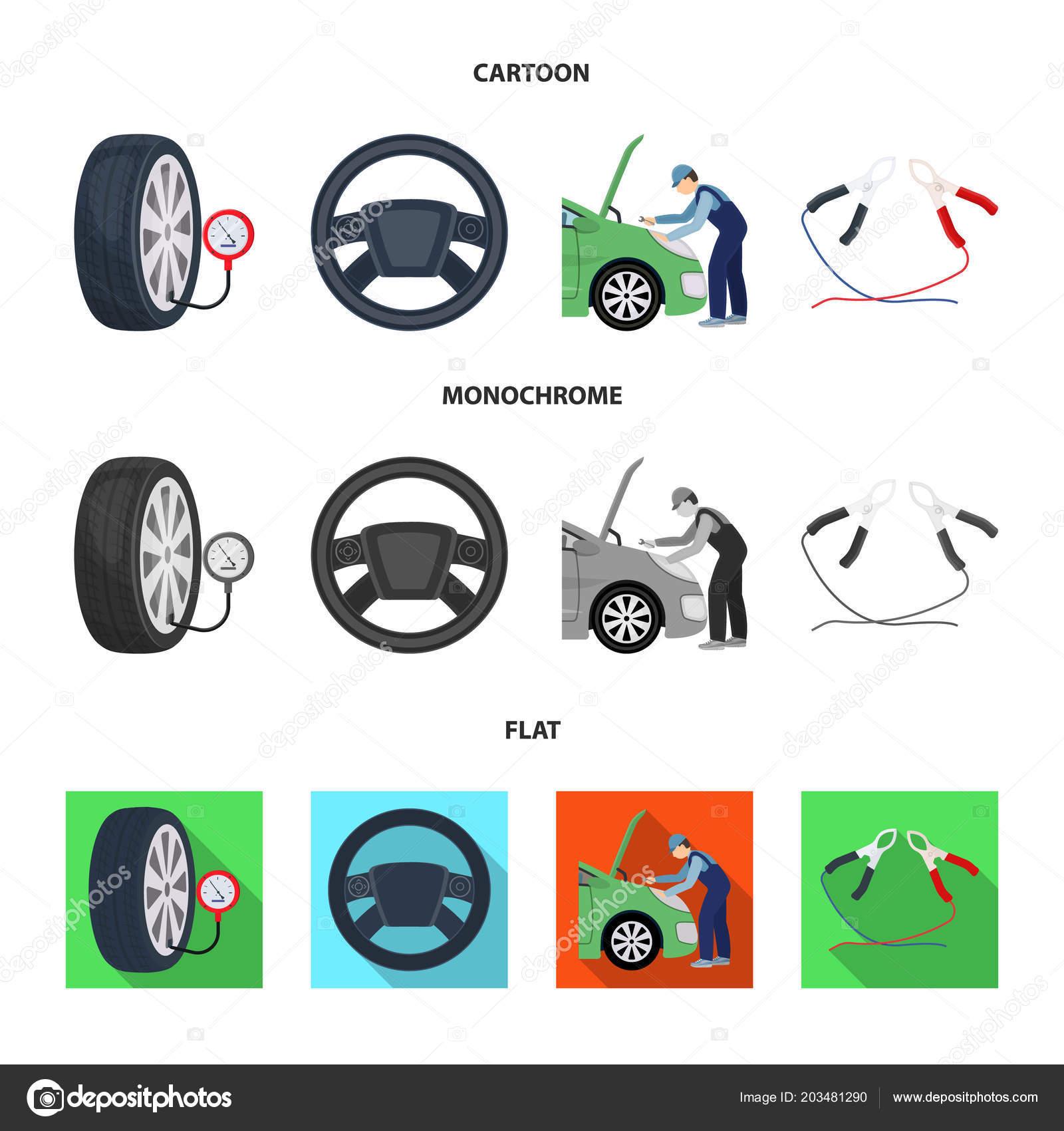 Engine Adjustment Steering Wheel Clamp And Wheel Cartoonflat