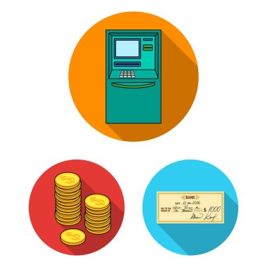 Money and Finance flat icons in set collection for design. Business and Success vector symbol stock web illustration.