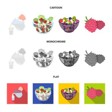 Fruit, vegetable salad and other types of food. Food set collection icons in cartoon,flat,monochrome style vector symbol stock illustration web.