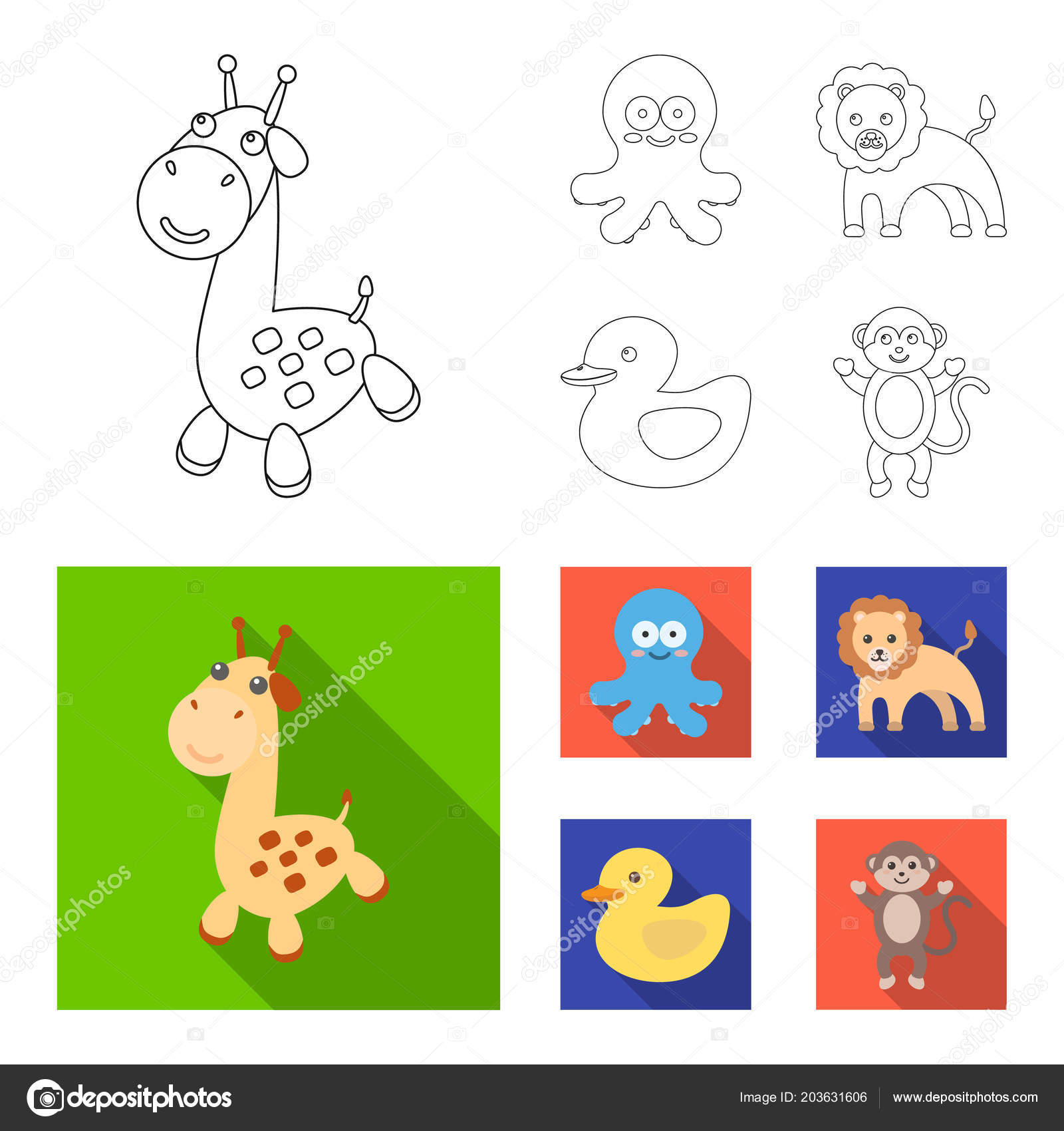 An Unrealistic Outlineflat Animal Icons In Set Collection For