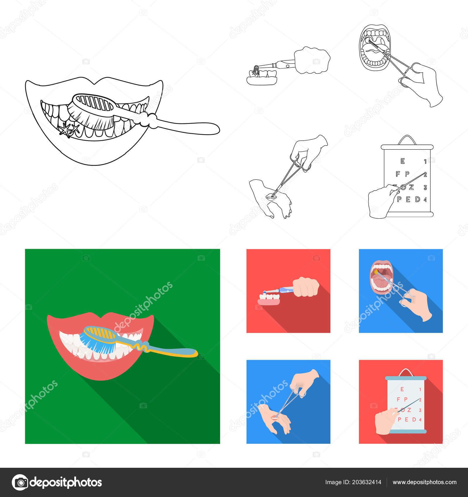 Soins dentaires, traitement des plaies et autre icône en contours,  traitement style.oral plat, acuité visuelle, test des icônes dans la  collection de jeu ... 154780a03116
