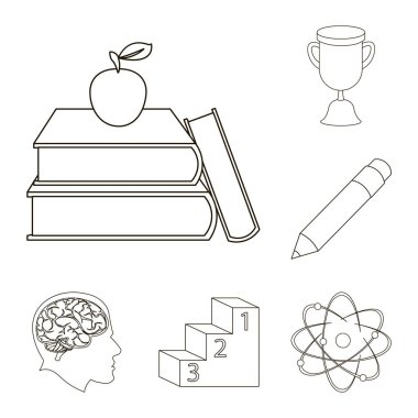 School and education outline icons in set collection for design.College, equipment and accessories vector symbol stock web illustration.