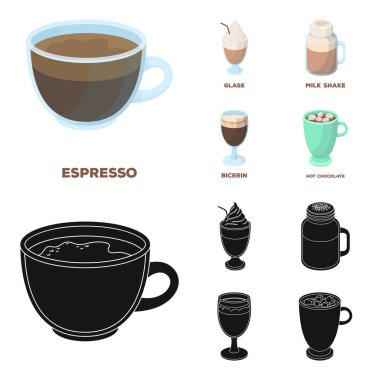 Esprecco, glase, milk shake, bicerin.Different types of coffee set collection icons in cartoon,black style vector symbol stock illustration web.