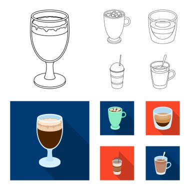 Ristretto, hot chocolate, latte take-away.Different types of coffee set collection icons in outline,flat style vector symbol stock illustration web.