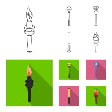 Lamppost in retro style,modern lantern, torch and other types of streetlights. Lamppost set collection icons in outline,flat style vector symbol stock illustration .