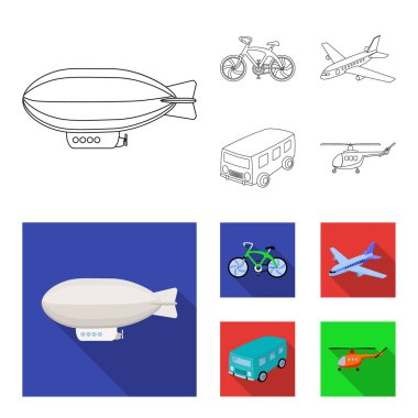 Bicycle, airplane, bus, helicopter types of transport. Transport set collection icons in outline,flat style vector symbol stock illustration web.