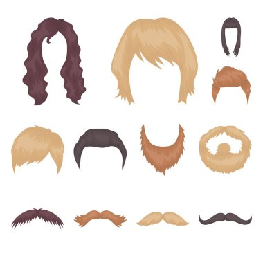 Mustache and beard, hairstyles cartoon icons in set collection for design. Stylish haircut vector symbol stock  illustration.