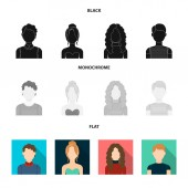 Curly-haired boy, blond, red-haired, teenager.Avatar set collection icons in black, flat, monochrome style vector symbol stock illustration web.