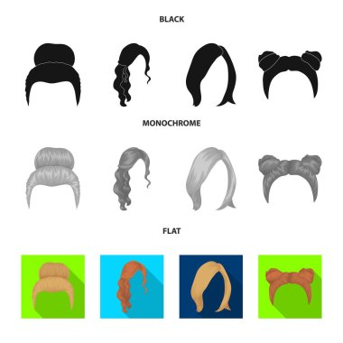 Blond with a bunch, red wavy and other types of hair. Back hair set collection icons in black, flat, monochrome style vector symbol stock illustration web.