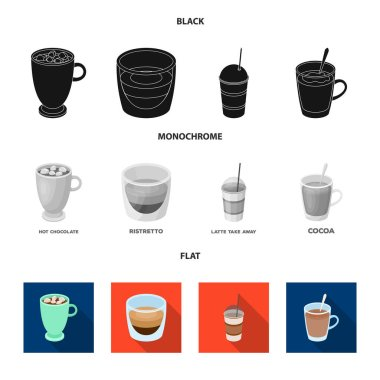 Ristretto, hot chocolate, latte take-away.Different types of coffee set collection icons in black, flat, monochrome style vector symbol stock illustration web.