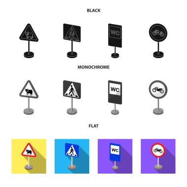 Different types of road signs black, flat, monochrome icons in set collection for design. Warning and prohibition signs vector symbol stock web illustration.