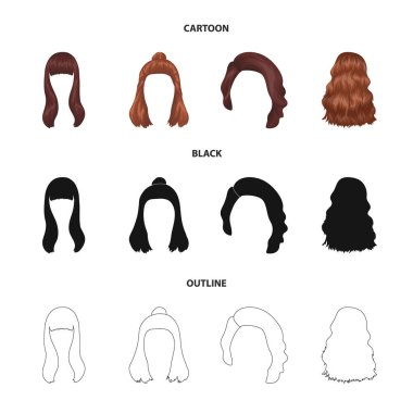 Long, red and other types of hairstyles. Back hairstyle set collection icons in cartoon,black,outline style vector symbol stock illustration web.