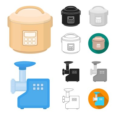 Types of household appliances cartoon,black,flat,monochrome,outline icons in set collection for design.Kitchen equipment vector symbol stock web illustration.