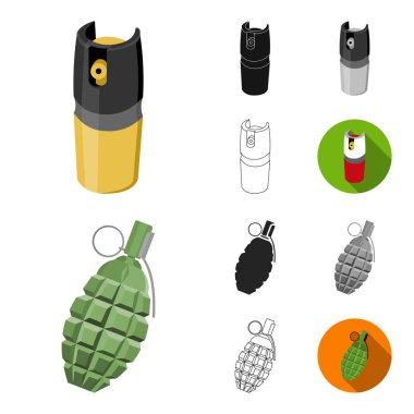 Types of weapons cartoon,black,flat,monochrome,outline icons in set collection for design.Firearms and bladed weapons vector symbol stock web illustration.