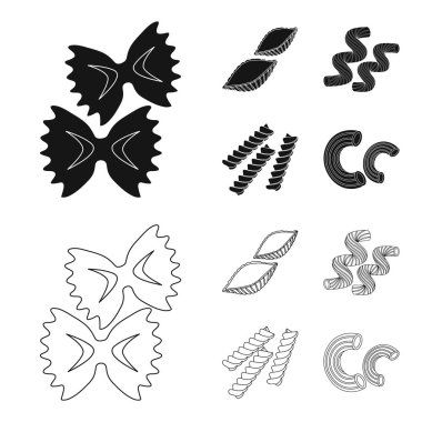 Different types of pasta. Types of pasta set collection icons in black,outline style vector symbol stock illustration web.