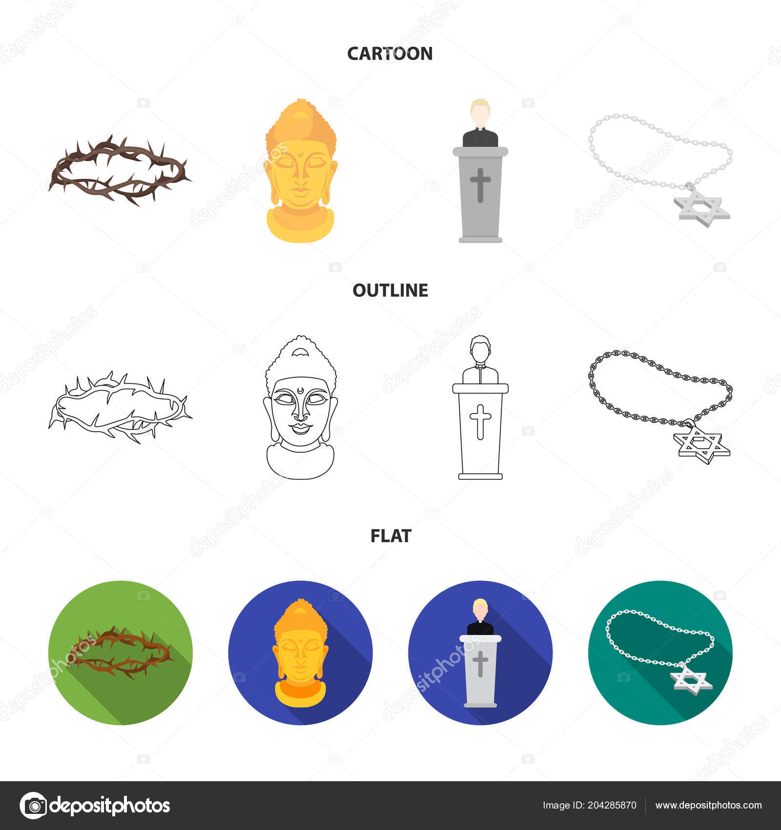 A Crown Of Thorns A Star Of David A Priest A Buddha Head Religion Set Collection Icons In Cartoon Outline Flat Style Vector Symbol Stock Illustration Web Stock Vector C Pandavector 204285870 Download a free preview or high quality adobe illustrator ai, eps, pdf and high resolution jpeg versions. depositphotos