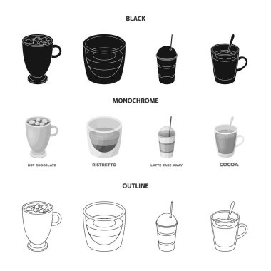 Ristretto, hot chocolate, latte take-away.Different types of coffee set collection icons in black,monochrome,outline style vector symbol stock illustration web.