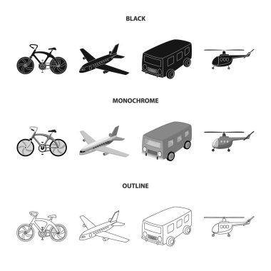 Bicycle, airplane, bus, helicopter types of transport. Transport set collection icons in black,monochrome,outline style vector symbol stock illustration web.