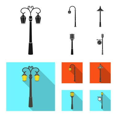 Lamppost in retro style,modern lantern, torch and other types of streetlights. Lamppost set collection icons in black, flat style vector symbol stock illustration web.