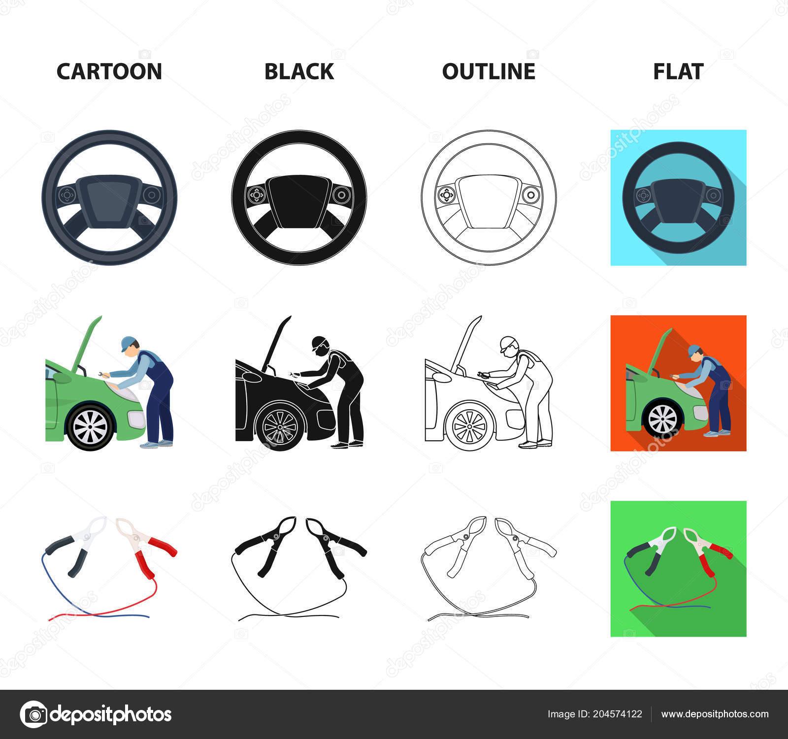 Engine Adjustment Steering Wheel Clamp And Wheel Cartoonblack