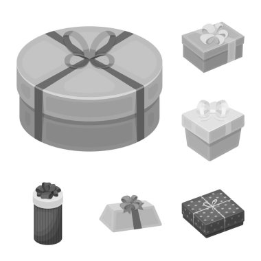 Gift and packing monochrome icons in set collection for design.Colorful packing vector symbol stock web illustration.