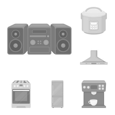 Types of household appliances monochrome icons in set collection for design.Kitchen equipment vector symbol stock web illustration.