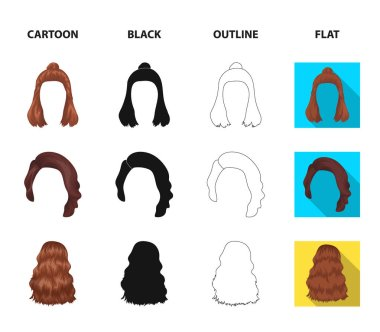 Long, red and other types of hairstyles. Back hairstyle set collection icons in cartoon,black,outline,flat style vector symbol stock illustration web.