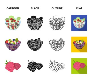 Fruit, vegetable salad and other types of food. Food set collection icons in cartoon,black,outline,flat style vector symbol stock illustration web.