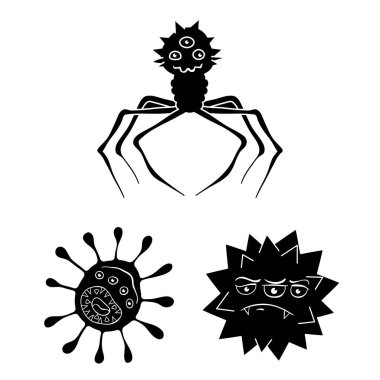 Types of funny microbes black icons in set collection for design. Microbes pathogenic vector symbol stock web illustration.