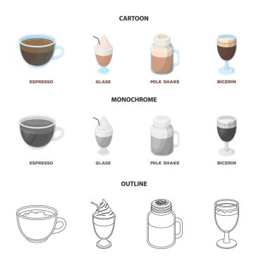 Esprecco, glase, milk shake, bicerin.Different types of coffee set collection icons in cartoon,outline,monochrome style vector symbol stock illustration web.
