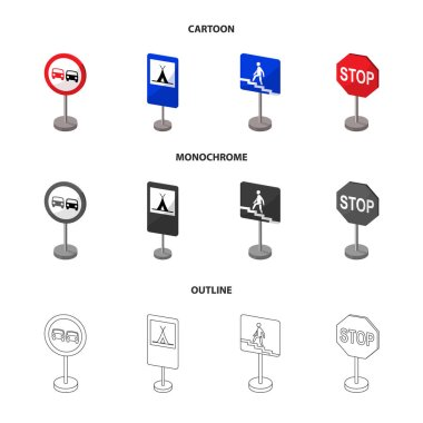Different types of road signs cartoon,outline,monochrome icons in set collection for design. Warning and prohibition signs vector symbol stock web illustration.