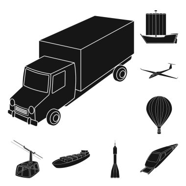 Different types of transport black icons in set collection for design. Car and ship vector symbol stock web illustration.