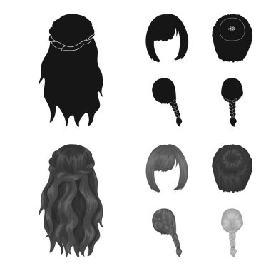 Kara, red braid and other types of hairstyles. Back hairstyle set collection icons in black,monochrom style vector symbol stock illustration web.