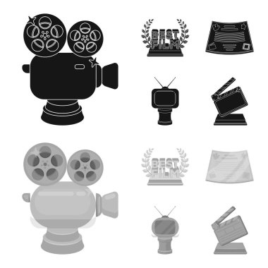 Silver camera. A bronze prize in the form of a TV and other types of prizes.Movie award,sset collection icons in black,monochrom style vector symbol stock illustration web.