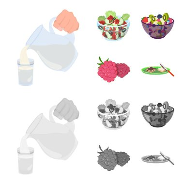 Fruit, vegetable salad and other types of food. Food set collection icons in cartoon,monochrome style vector symbol stock illustration web.