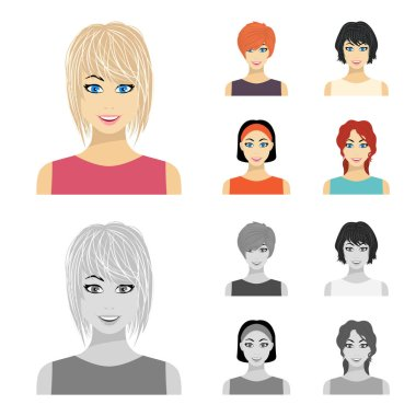 Types of female hairstyles cartoon,monochrome icons in set collection for design. Appearance of a woman vector symbol stock web illustration.