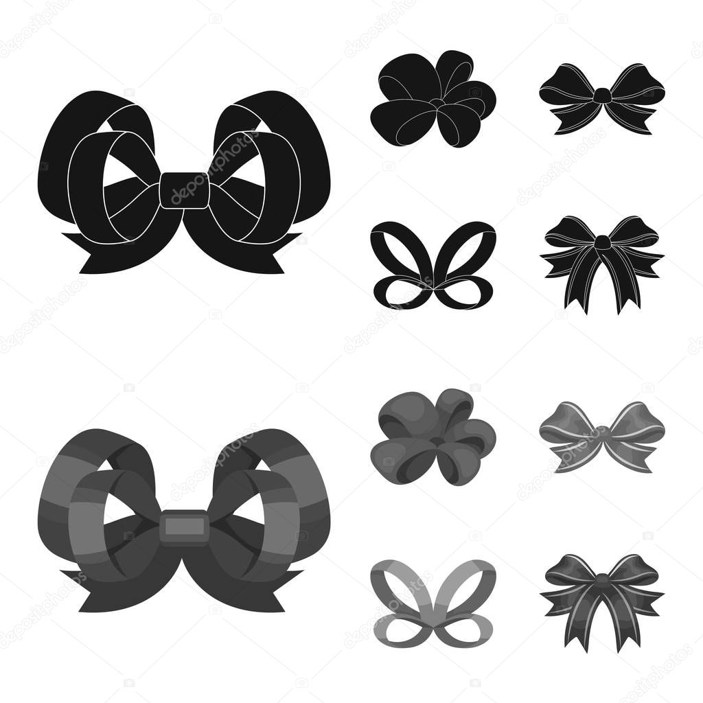 Ornamentals, frippery, finery and other web icon in black,monochrom style.Bow, ribbon, decoration, icons in set collection.
