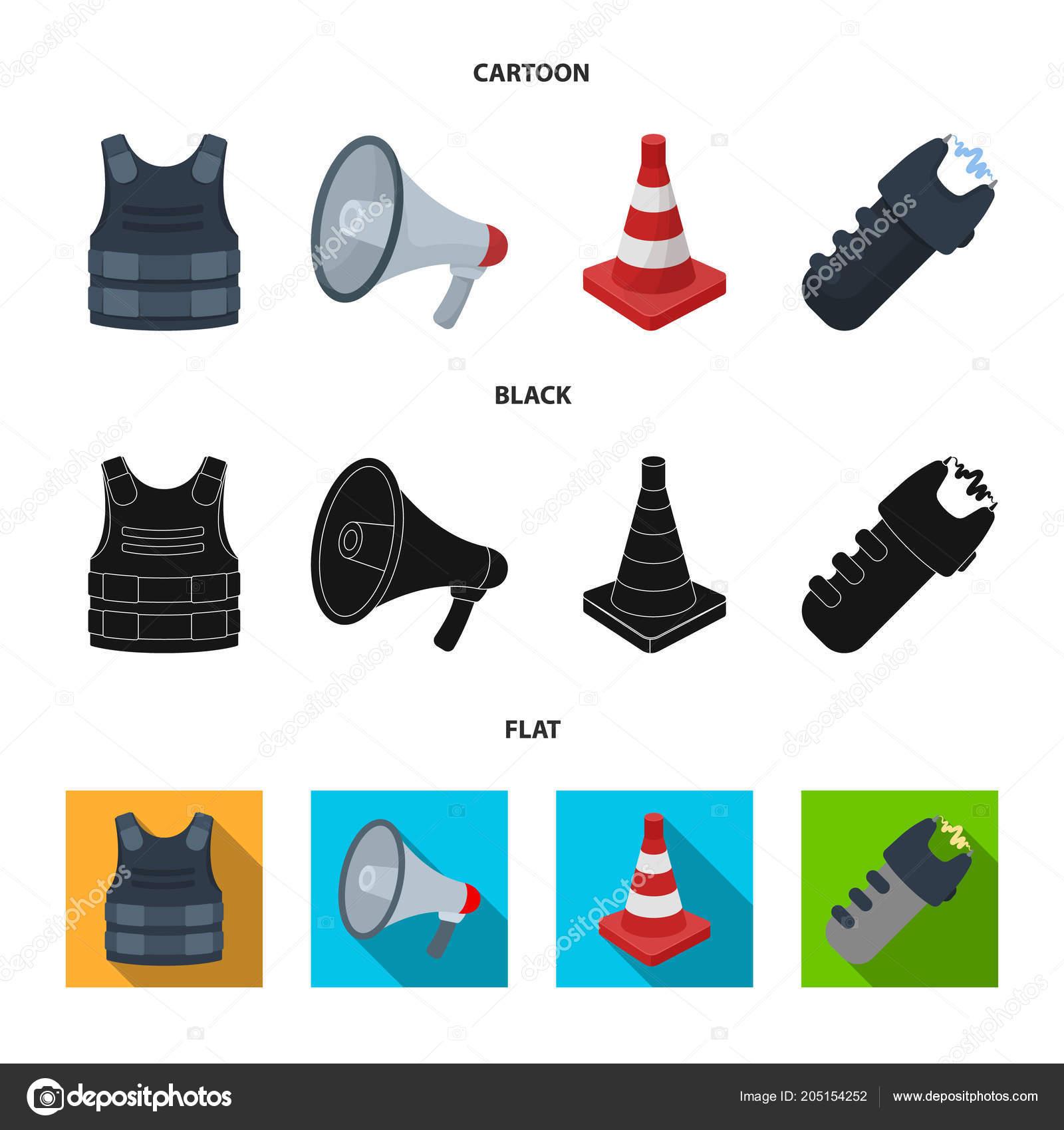 Bulletproof vest, megaphone, cone of fencing, electric shock. Police ...
