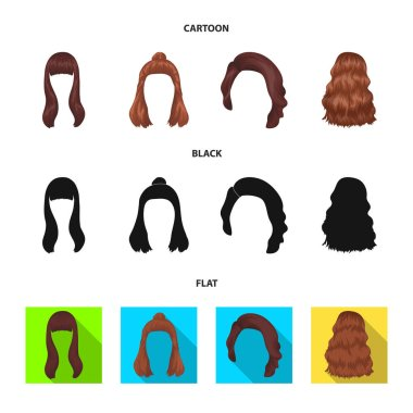 Long, red and other types of hairstyles. Back hairstyle set collection icons in cartoon,black,flat style vector symbol stock illustration web.